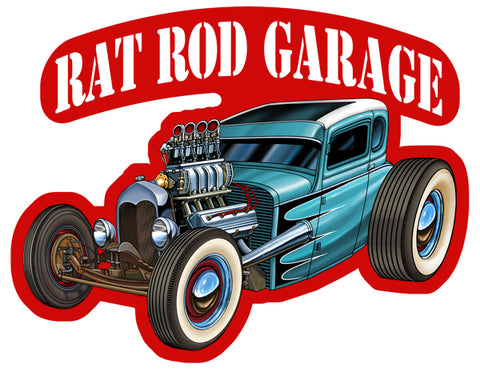 Rat Rod Garage Cut Out 3D Effect Garage Art Metal Sign 16.3x21