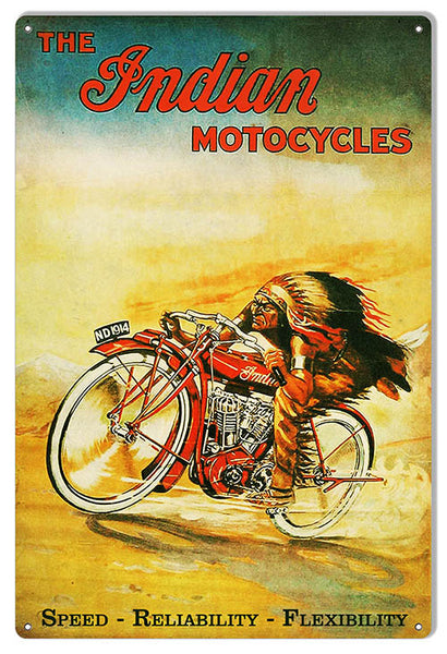 Vintage Indian Motocycle Garage Shop Metal Sign 12x18