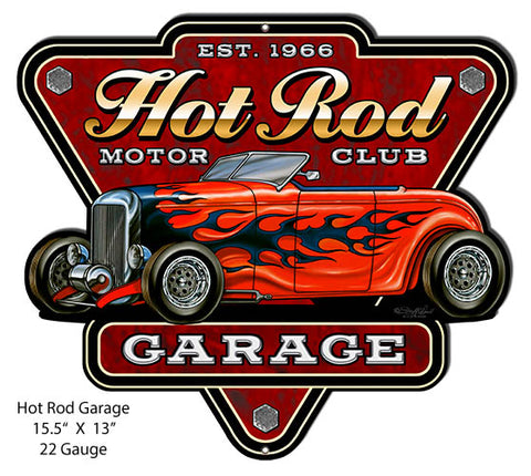 Hot Rod Garage Club Cut Out Sign By Steve McDonald 13x15.5