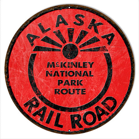 Alaska Railway Reproduction Railroad Metal Sign 18x18 Round