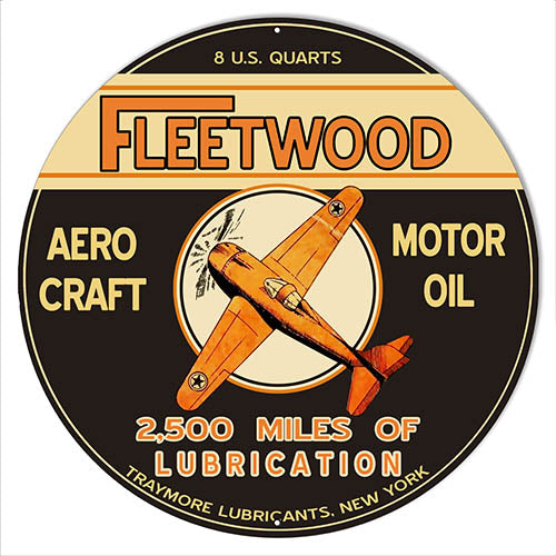 Fleetwood Motor Oil Reproduction Aviation Metal Sign 14x14 Round