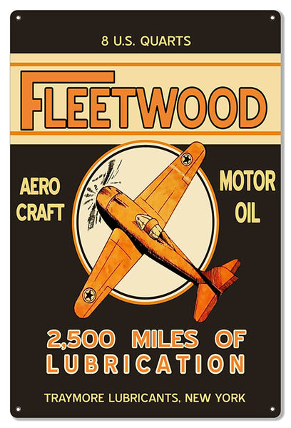 Fleetwood Motor Oil Reproduction Large Aviation Metal Sign 16x24