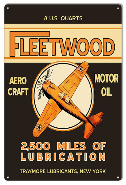Fleetwood Reproduction Motor Oil Aviation Metal Sign 12x18