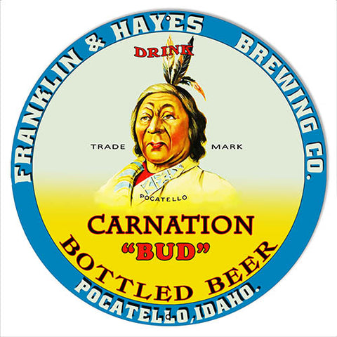 Carnation Bud Beer Reproduction Bar Metal Sign 14x14 Round