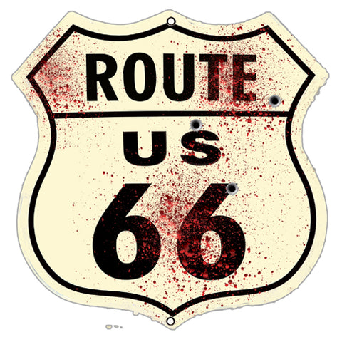 (3) Route 66 Cut Out Reproduction Garage Shop Metal Sign 7.5x7.5