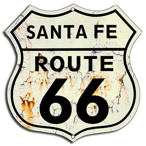 (3) Route 66 Santa Fe Vintage Laser Cut Out Garage Shop Metal Sign 7.5x7.5