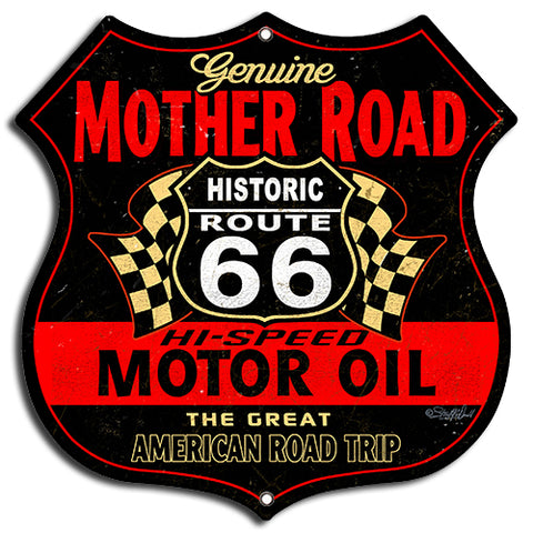 (3) Mother Road Motor Oil Cut Out By Steve McDonald Metal Sign 7.5x7.5