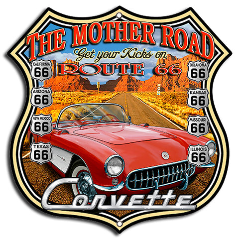 (3) Route 66 Corvette Cut Out Metal Sign By Steve McDonald 7.5x7.5