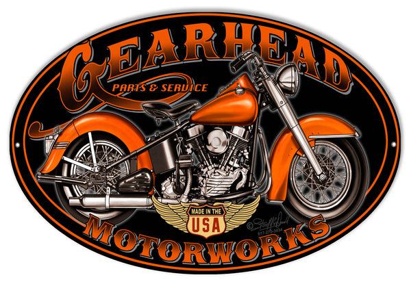 Gearhead Motorworks Motorcycle Metal Sign By Steve McDonald 11x18 Oval