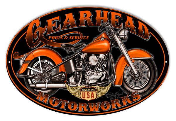 Gearhead Motorworks Motorcycle Metal Sign By Steve McDonald 9x14 Oval