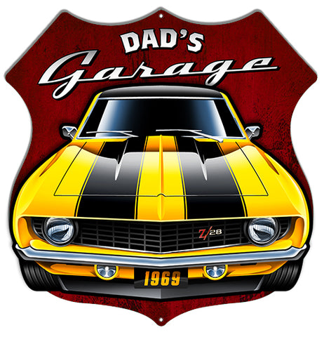 Dads Garage Cut Out 3D Effect By Scott Siebel Metal Sign 15.6x15.8