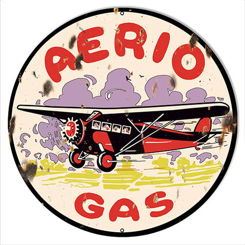 Aerio Gasoline Reproduction Motor Oil Metal Sign 30x30 Round