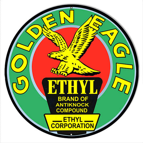Golden Eagle Motor Oil Reproduction Garage Metal Sign 24x24 Round