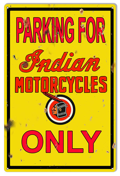 Indian Motorcycle Parking Reproduction Garage Shop Metal Sign 12x18
