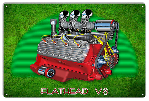 Flat Head V8 Motor Garage Art Metal Sign By Rudy Edwards 12x18