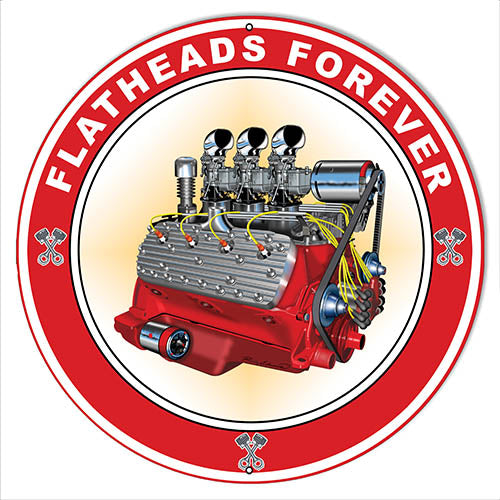 Flat Heads Garage Art Metal Sign By Rudy Edwards 18x18 Round