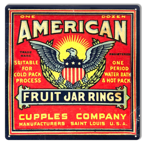 American Fruit Jar Rings Reproduction Country Metal Sign 12x12