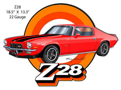 Z28 Camaro Red Cut Out Garage Art Metal Sign By Rudy Edwards 13.3x18.5