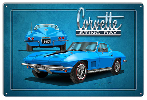 Corvette Sting Ray Blue Garage Art Metal Sign By Rudy Edwards 12x18