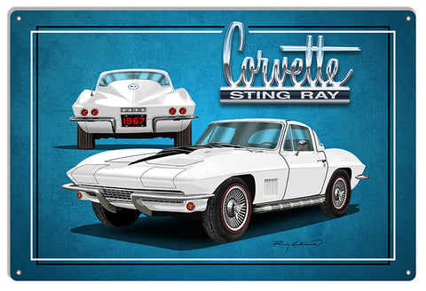Corvette Sting Ray White Garage Art Metal Sign By Rudy Edwards 12x18