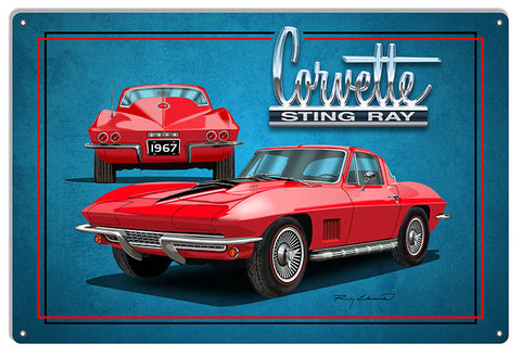 Corvette Sting Ray Red Garage Art Metal Sign By Rudy Edwards 12x18