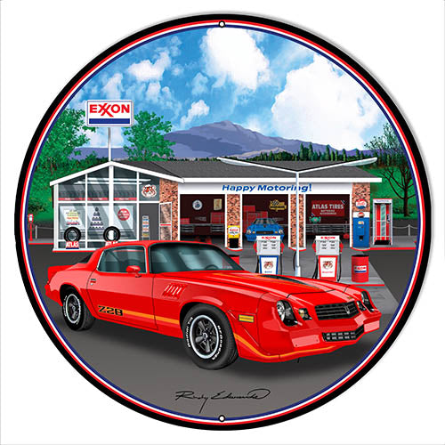 Z28 Corvette Red Metal Sign By Rudy Edwards 14x14 Round