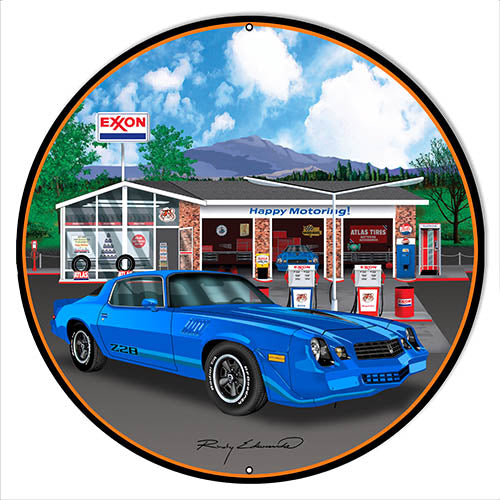 Z28 Corvette Blue Metal Sign By Rudy Edwards 14x14 Round
