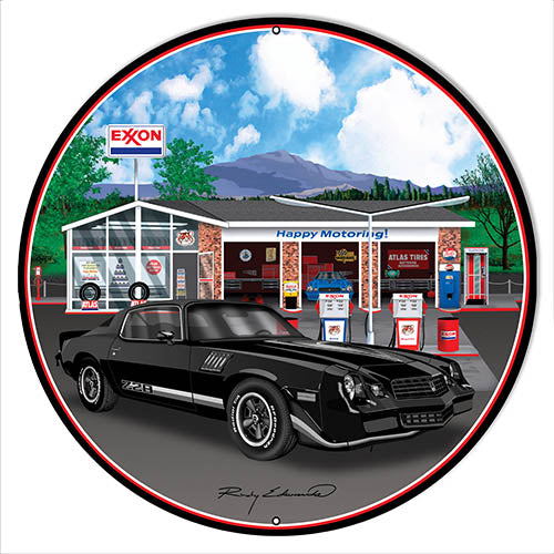 Z28 Corvette Black Metal Sign By Rudy Edwards 30x30 Round