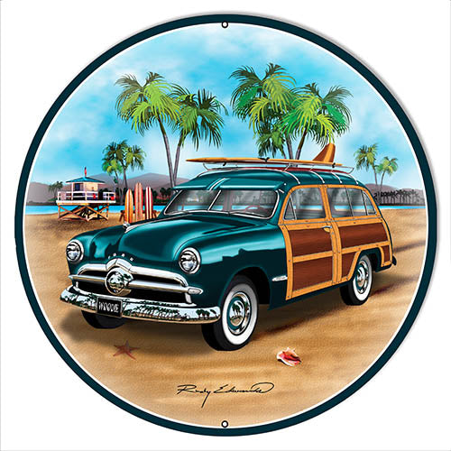 Ford Woodie Green Metal Sign By Rudy Edwards 24x24 Round
