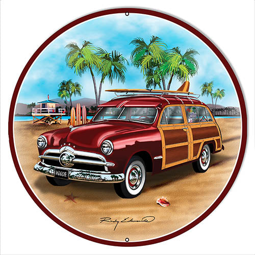 Ford Woodie Red Metal Sign By Rudy Edwards 14x14 Round