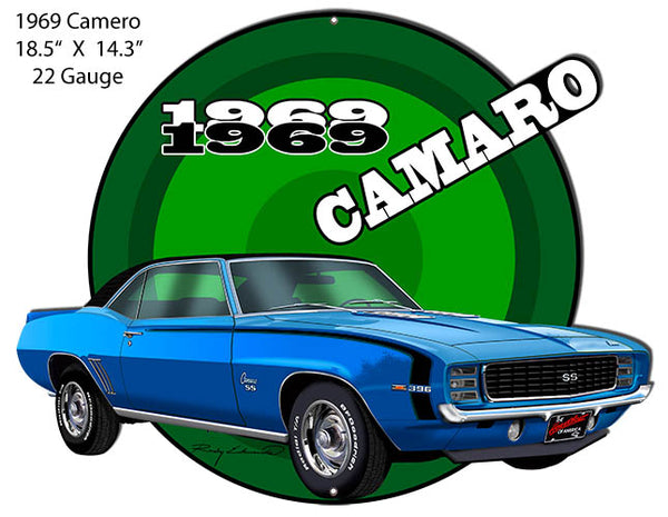 Camaro1969 Blue Hot Rod Cut Out Metal Sign By Rudy Edwards 14.3x18.5