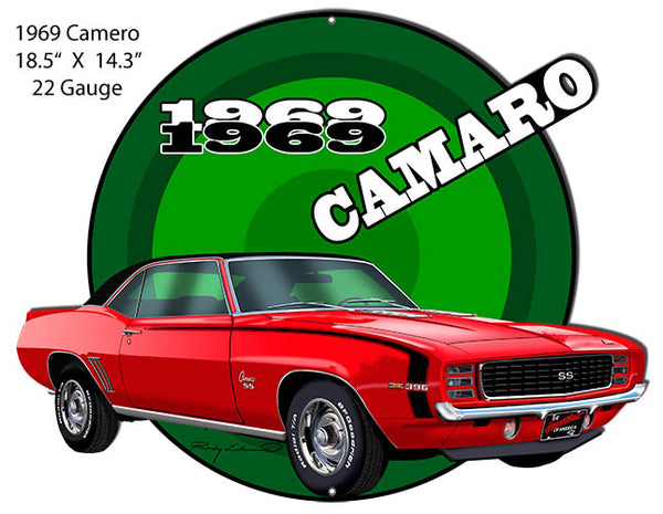 Camaro1969 Red Hot Rod Cut Out Metal Sign By Rudy Edwards 14.3x18.5