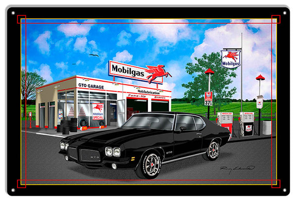 Mobil Gas GTO Black Garage Art Metal Sign By Rudy Edwards  12x18