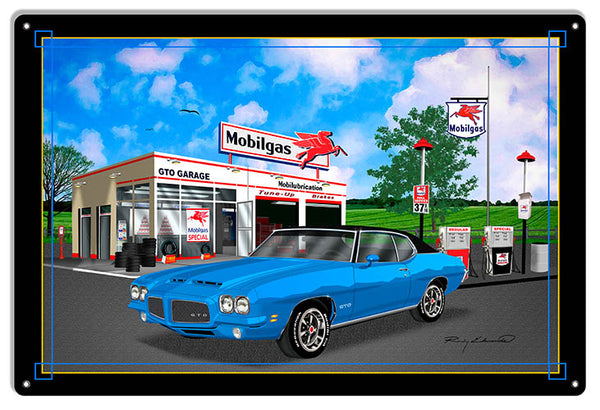 Mobil Gas GTO Blue Garage Art Metal Sign By Rudy Edwards  18x30