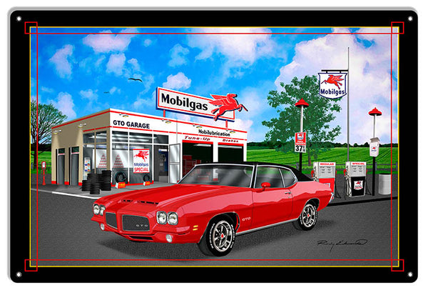 Mobil Gas GTO Red Garage Art Metal Sign By Rudy Edwards  18x30