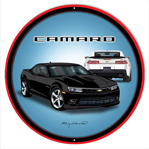 Camaro Hot Rod Black Metal Sign By Rudy Edwards 14x14 Round