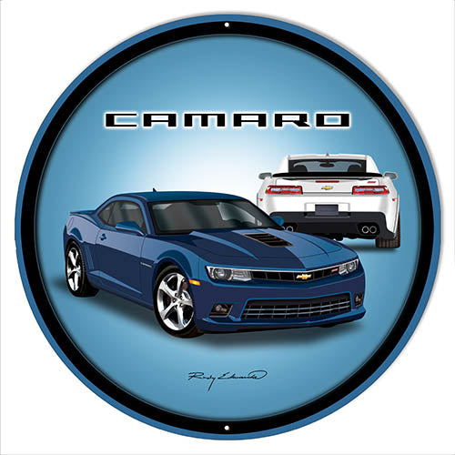 Camaro Hot Rod Blue Metal Sign By Rudy Edwards 24x24 Round