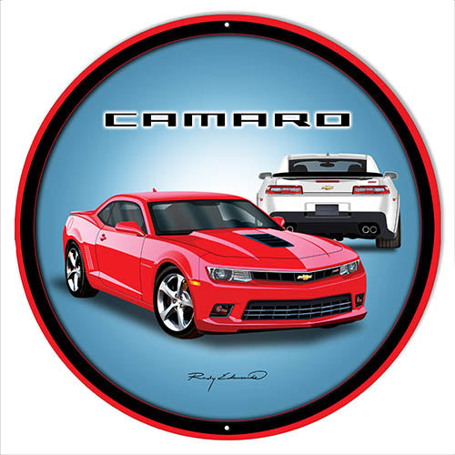 Camaro Hot Rod  Red Metal Sign By Rudy Edwards 14x14 Round