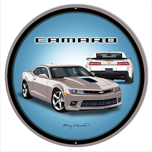 Camaro Hot Rod Silver Metal Sign By Rudy Edwards 14x14 Round