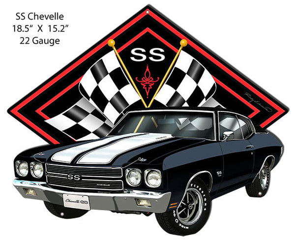 SS Chevelle Black Car Cut Out Metal Sign By Rudy Edwards 15.2x18.5