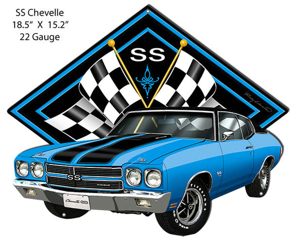 SS Chevelle Blue Car Cut Out Metal Sign By Rudy Edwards 15.2x18.5