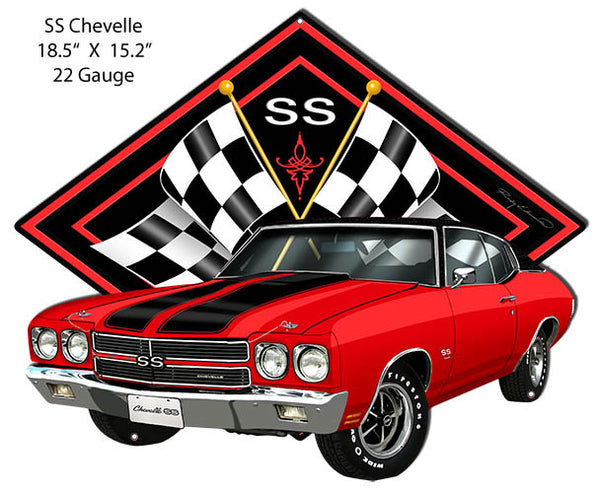 SS Chevelle Red Car Cut Out Metal Sign By Rudy Edwards 15.2x18.5