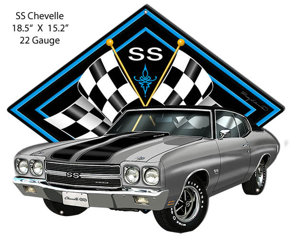 SS Chevelle Silver Car Cut Out Metal Sign By Rudy Edwards 15.2x18.5