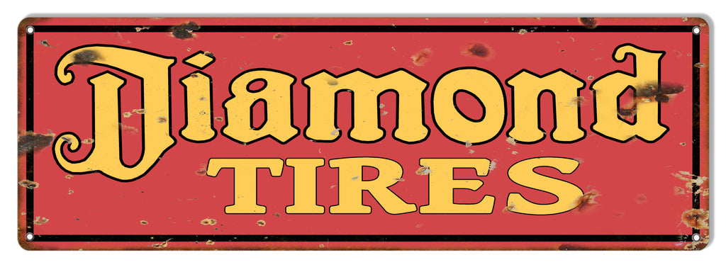 Diamond Tires Reproduction Garage Shop Large Metal Sign  8x24