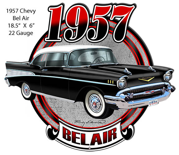 Chevy Bel Air Black Laser  Cut Out Metal Sign By Rudy Edwards 16x18.5