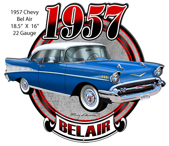 Chevy Bel Air Blue Laser  Cut Out Metal Sign By Rudy Edwards 16x18.5