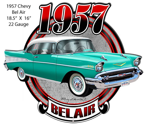 Chevy Bel Air Turquoise Laser  Cut Out Metal Sign By Rudy Edwards 16x18.5