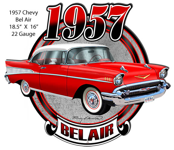 Chevy Bel Air Red Laser  Cut Out Metal Sign By Rudy Edwards 16x18.5