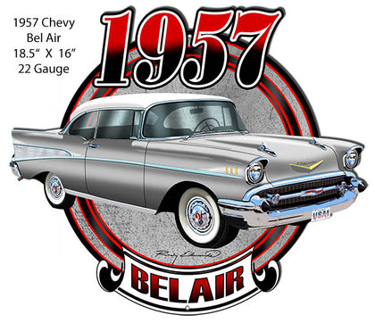 Chevy Bel Air Silver Laser  Cut Out Metal Sign By Rudy Edwards 16x18.5