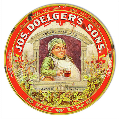 Jos Doeglers Sons Beer Reproduction Bar Metal Sign 18x18 Round